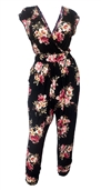 Plus Size Deep V-Neck Jumpsuit Black Floral Print 191123B