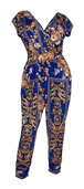 Plus Size Deep V-Neck Jumpsuit Designer Print 20617A