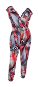 Plus Size Deep V-Neck Jumpsuit Designer Print 20714C