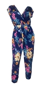 Plus Size Deep V-Neck Jumpsuit Designer Print 201031B