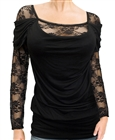 Plus size Floral Lace Sleeve Top Black