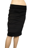 Plus size Bandage Pull On Pencil Skirt Black