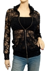 Jr Plus Size Lace Zipper Front Hoodie Top Black