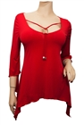 Plus size Deep Cut Pendant Accented Slimming Top Hot Red
