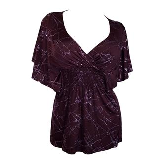 Plus Size Slimming V Neck Smocked Empire Waist Top Purple