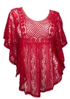 Plus Size Crochet Poncho Top Red