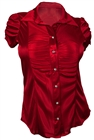 Plus Size Satiny Button Front Dress Shirt Red
