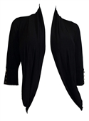 Plus Size Shawl Collar Open Front Cardigan with Button Detail Black