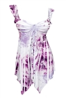 Plus size Deep V-neck Asymmetric Slimming Sublimation Print Top Violet