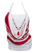 Plus size Glitter Print Necklace Accented O-ring Strap Top White