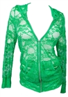 Plus Size Lace Zipper Front Hoodie Top Green