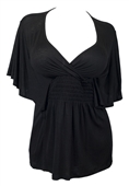 Plus Size Slimming V-neck Smocked Empire Waist Top Black