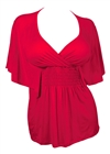 Plus Size Slimming V-neck Smocked Empire Waist Top Red