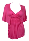 Plus Size Slimming V-neck Smocked Empire Waist Top Pink