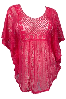Plus Size Crochet Poncho Top Fuchsia