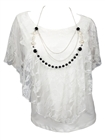Plus Size Layered Lace Poncho Top with Necklace Detail White