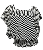 Plus Size ZigZag Print Layered Poncho Top Black