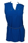 Plus Size Sleeveless Tunic Top with Tassel Detail Royal Blue