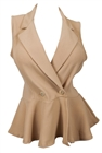Plus size Spread Collar Sleeveless Vest Top Taupe