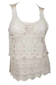 Plus Size Crochet Front Tank Top Ivory Taupe