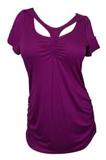 Plus Size Off Shoulder Racer Back Tunic Top Purple