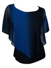 Plus Size Layered Poncho Top with Glitter Detail Royal Blue