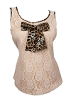 Plus size Floral Lace Sleeveless Blouse With Bow Detail Taupe Animal Print