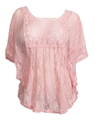 Plus Size Crochet Poncho Top Pink