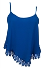 Plus size Asymmetric Lace Trimmed Spaghetti Strap Tank Top Royal Blue