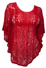 Plus Size Sheer Crochet Floral Lace Poncho Top Red