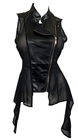 Plus Size Sleeveless Sheer and Faux Leather Panel Jacket Black