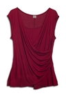 Plus size Drape Front Layered Top Burgundy