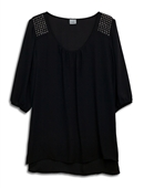 Plus Size Studded Shoulder Chiffon Top Black