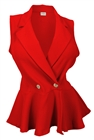 Plus size Spread Collar Sleeveless Vest Top Red