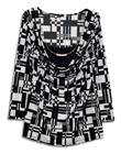 Plus size Layered Long Sleeve Top With Necklace Detail Abstract Print Black