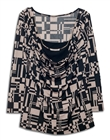 Plus size Layered Long Sleeve Top With Necklace Detail Abstract Print Taupe