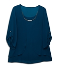 Plus size Layered Long Sleeve Chiffon Necklace Top Teal