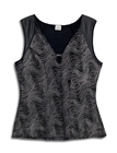 Plus size Sleeveless Glitter V-neck Top Black