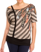 Plus Size Designer Print Off Shoulder Top Taupe