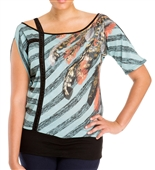 Plus Size Designer Print Off Shoulder Top Mint
