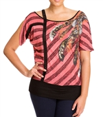 Plus Size Designer Print Off Shoulder Top Coral
