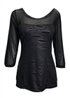Plus Size Mesh-Yoke Wide Scoop Neck Top Black Gray