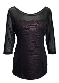 Plus Size Mesh-Yoke Wide Scoop Neck Top Black Purple