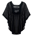 Plus Size Sheer Crochet Poncho Top Black