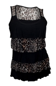 Plus Size Tiered Ruffle Tank Top Black Animal Print