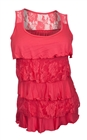 Plus Size Tiered Ruffle Tank Top Coral