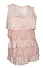 Plus Size Tiered Ruffle Tank Top Baby Pink