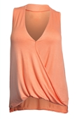 Plus Size Sleeveless Drape Front Top Peach