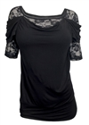 Plus size Floral Lace Half Sleeve Top Black