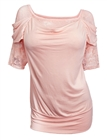 Plus size Floral Lace Half Sleeve Top Pink
